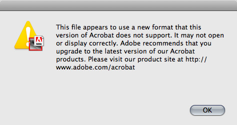 Acrobat compatibility warning, screen-shot