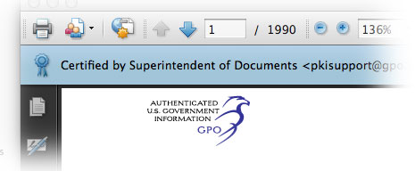Screen-shot of Certified PDF