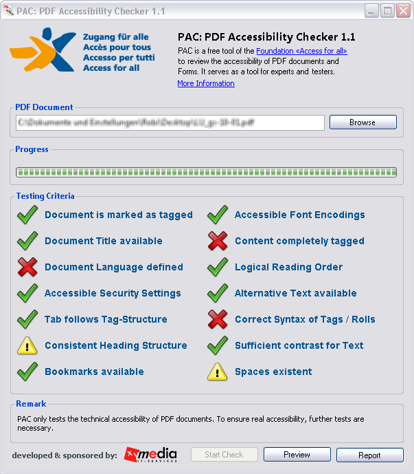 Screen-shot of PDF Accessibility Checker User Interface