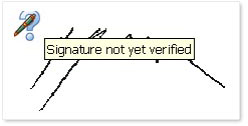 Status of a signature (Signature not yet verified).