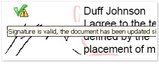 Signature status (Signature is valid, the document has been updated...)