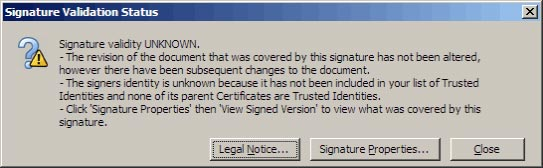 Warning if the PDF has changed