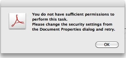 Dialog Box: You do not have sufficient permissions to perform this task. Please change the security settings from the Document Properties dialog and retry.