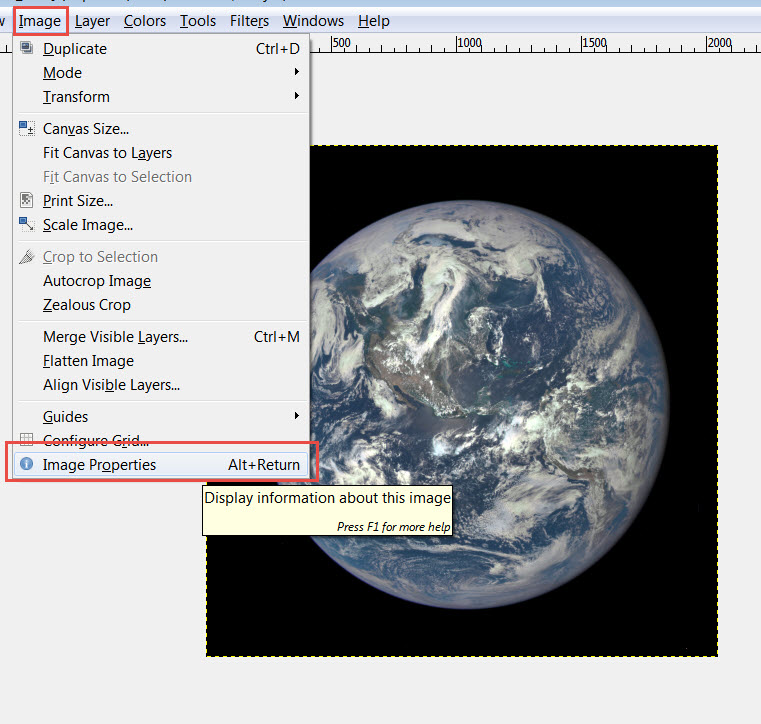 Select the Image Properties dialog from the GIMP Menu