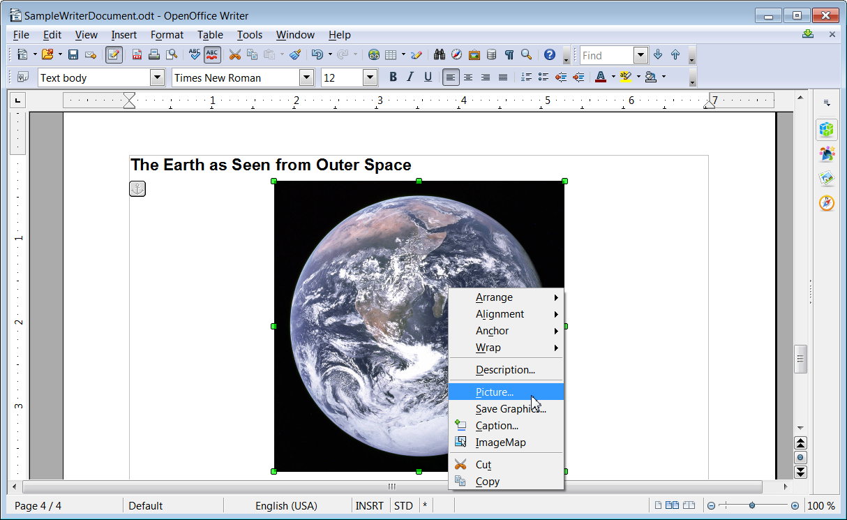 Selecting the Picture option for an image in OpenOffice Writer
